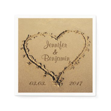 stdjura Love Heart in the Sand Personalized Names Wedding Napkin