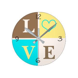 LOVE Heart Infant Nursery Neutral Decor Round Clock