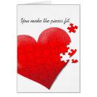 love heart jigsaw puzzle card
