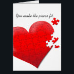 """love heart jigsaw puzzle card<br><div class=""""desc"""">When the heart is full the pieces fit and love completes us.</div>"""