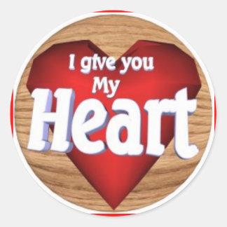 Love Heart Labels Round Sticker