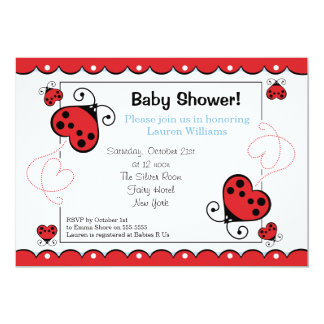 Love Heart Ladybug Baby Shower Invitations Boy