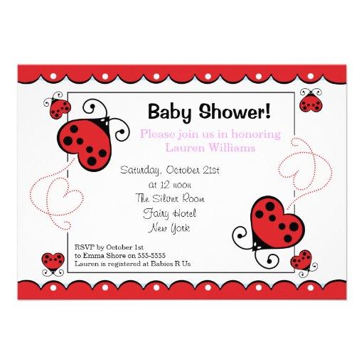 Love Heart Ladybug Baby Shower Invitations Girl
