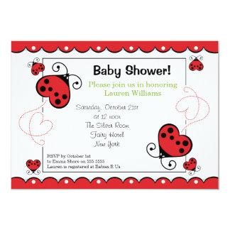 Love Heart Ladybug Baby Shower Invitations Green