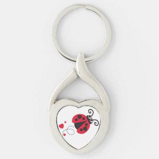 Love heart ladybug key ring