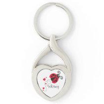 Love heart ladybug named key ring