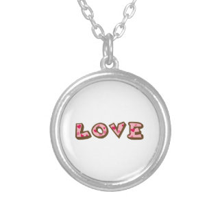 love heart letters round pendant necklace