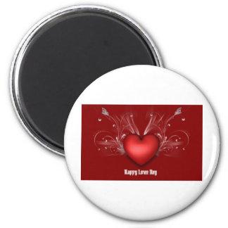 love heart 2 inch round magnet