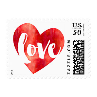 LOVE HEART modern typography brushed letters red Postage