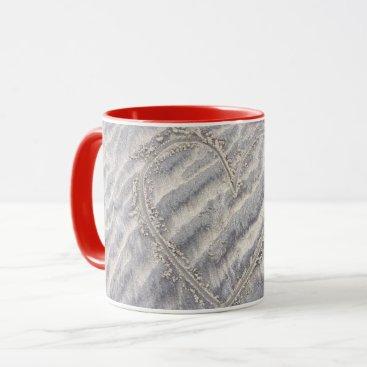 Beach Themed Love heart mug. Drawing on the beach Mug
