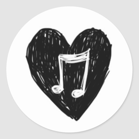 Love Heart Musical Note Doodle Black on White Classic Round Sticker