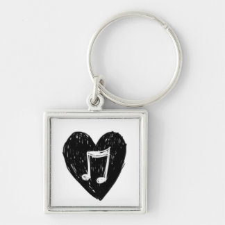 Love Heart Musical Note Doodle Black on White Keychain