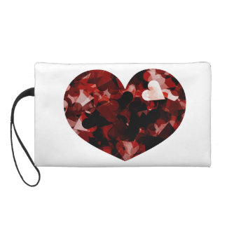 Love Heart of Red Hearts Emotion with Black Pink Wristlet