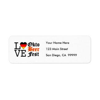 Love Heart Oktobeer fest Return Address Label