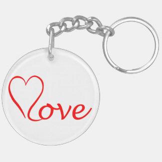 Love heart on white background keychain