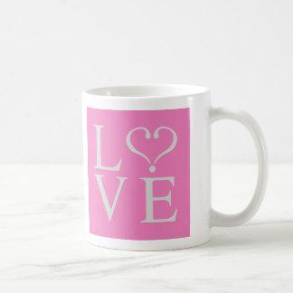 Love heart opened in gray on pink bottom coffee mug