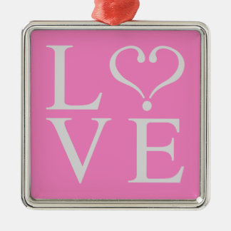 Love heart opened in gray on pink bottom metal ornament