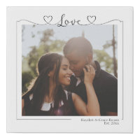 Love Heart Personalized Photo and Text Typography Faux Canvas Print