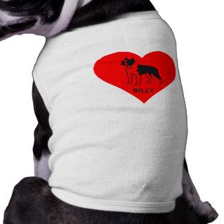 LOVE HEART PET/DOG COAT W. BOS.BULL IMAGE/NAME SHIRT
