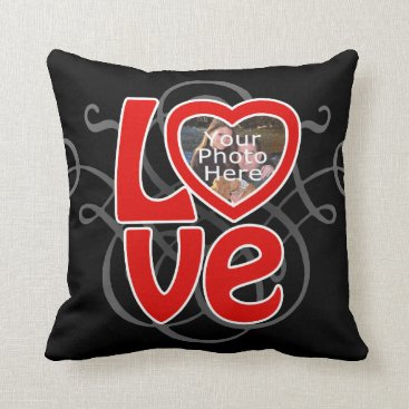 Love Heart Photo Frame Custom Pillow