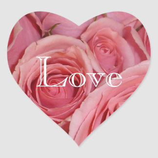 Love Heart Pink Rose Stickers