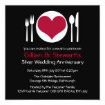 Love Heart Plate Anniversary Dinner - Red Invitation