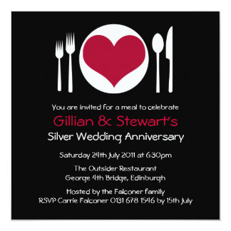 Love Heart Plate Anniversary Dinner - Red Custom Announcements