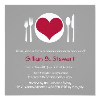 Love Heart Plate Rehearsal Dinner Invitation 13 Cm X 13 Cm Square Invitation Card
