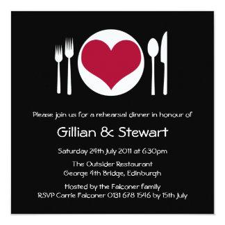 Love Heart Plate Rehearsal Dinner Invitation - Red 13 Cm X 13 Cm Square Invitation Card