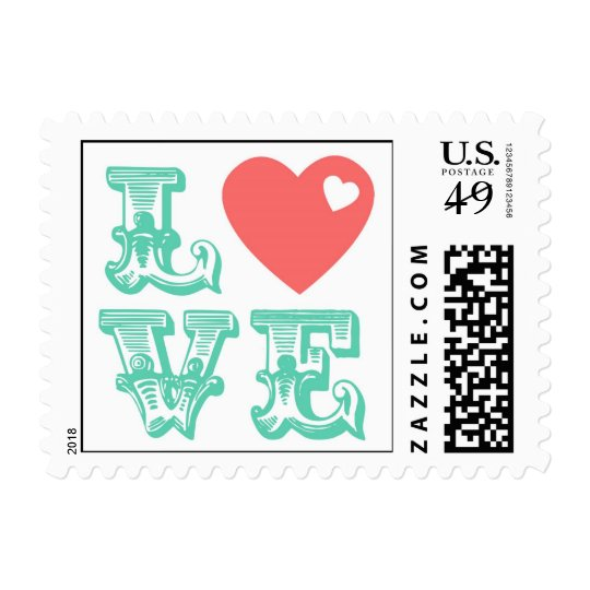 Love Heart Postage Stamps