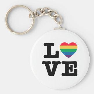 Love Heart Pride Button Keychain