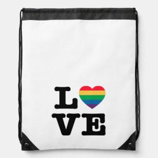 Love Heart Pride Drawstring Backpack