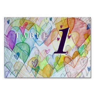 Love Heart Rainbow Custom Table Number Cards
