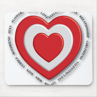 Love heart red mouse pad