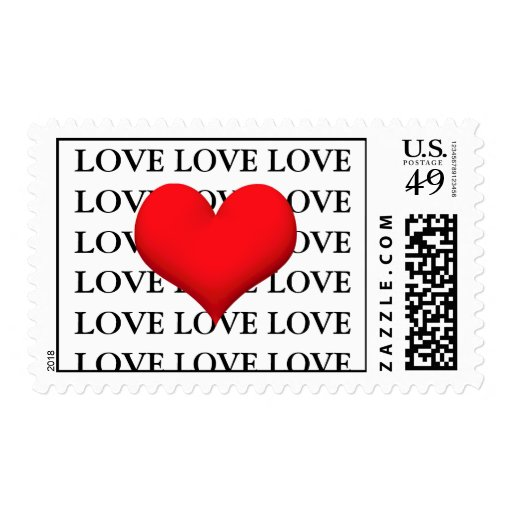 Love Heart Red Postage