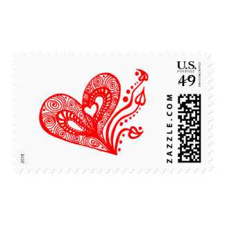 Love heart /red postage