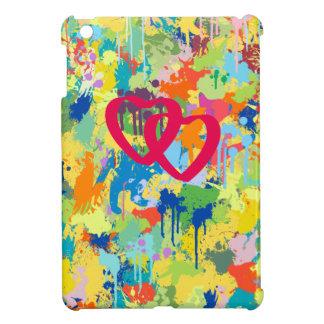 Love Heart Red Shape Colorful Splash Design iPad Mini Case