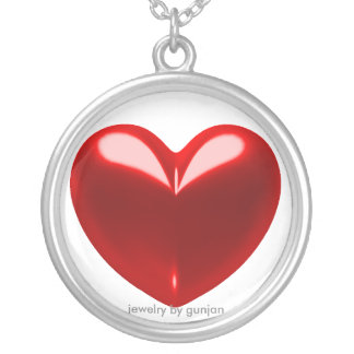 Love heart red silver plated necklace