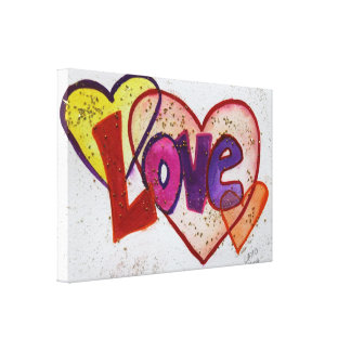 Love Heart Rings Glitter Painting Canvas Print
