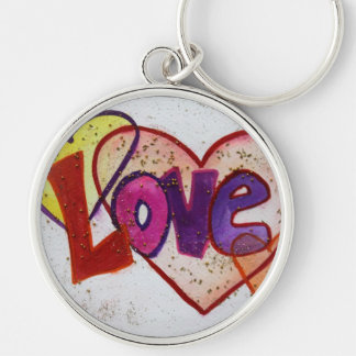 Love Heart Rings Glitter Painting Keychain