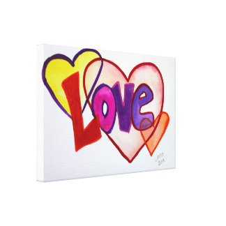Love Heart Rings Painting Canvas Print