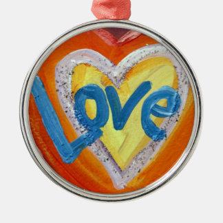 Love Heart Ripple Word Art Ornament