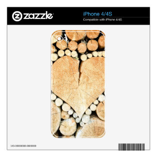 Love, heart, romance, wood mosaic iPhone 4S skin
