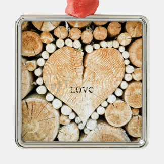 Love, heart, romance, wood mosaic metal ornament