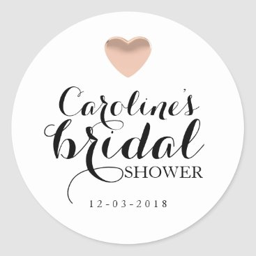 Valentines Themed Love Heart Rose Gold Bridal Shower Sticker