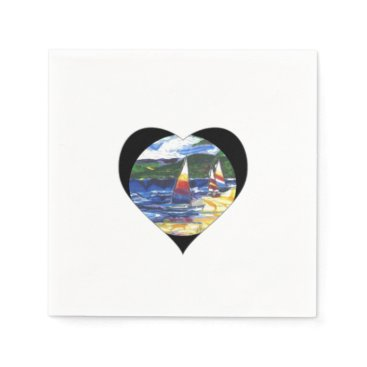 Valentines Themed Love Heart Sail boats Paper Napkins