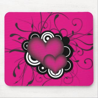 Love, Heart Shape Pink Colour Mouse Pad