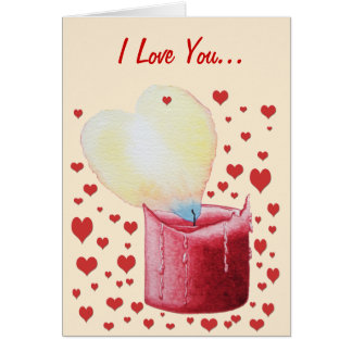 love heart shaped flame red candle illustration card