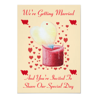 love heart shaped flame red candle wedding 5x7 paper invitation card