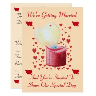 love heart shaped flame red candle wedding card